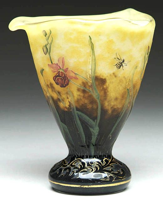 IMAGE: A Daum French Cameo vase having an unusual form with rare wild orchid, spider web and bee decorationdaum nancy	  	Year: 	1890 - 1925: