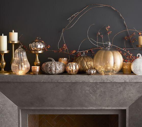 Eclectic Mercury Votive Holders Set Of 6 Gold Glass Pumpkins