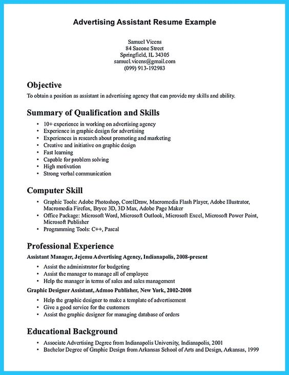 cool Writing Your Assistant Resume Carefully, Check more at http - advertising asst sample resume