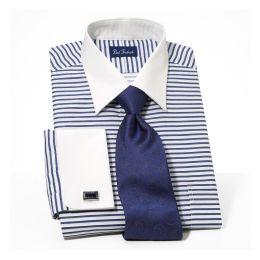 Paul fredrick satin horizontal stripe white french cuff for Horizontal striped dress shirts men
