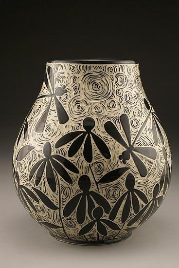 Dragonflies & Coneflowers vase - sgraffito curls pottery ceramics clay