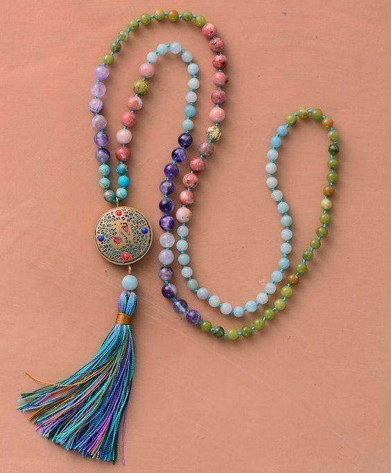 108 Perlen Prayer Meditation Lang Mala Halskette Nepal Matt Naturstein