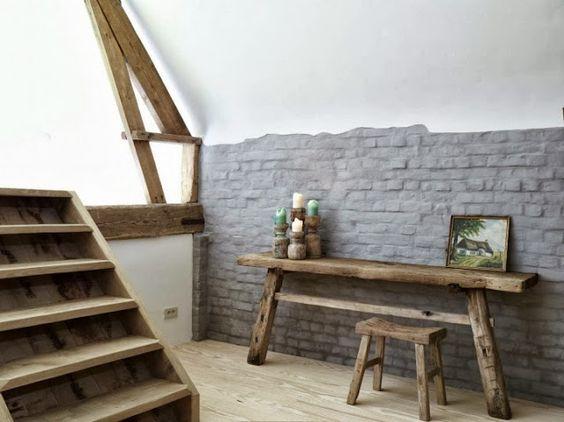 ... gris souris, placer des meubles en bois brut, sol en parquet chêne