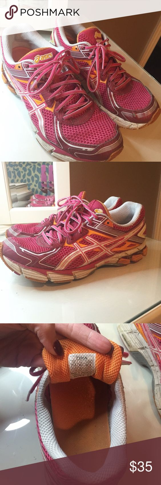 Asics Running Shoe These pink, coral, and orange asics are super comfy! They have been worn and show some wear, but are still a nice fit! Size 10.5. Asics Shoes Sneakers