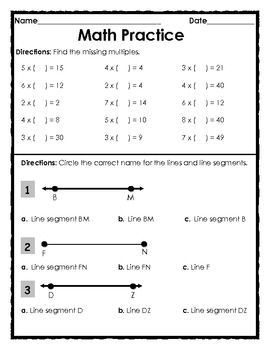 Printables 3rd Grade Math Review Worksheets math review worksheets 5th grade practice worksheet free lines and multiplication 1 page subject worksheets