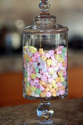 Who doesn't love these candy heart things? AND it still makes an elegant decoration.