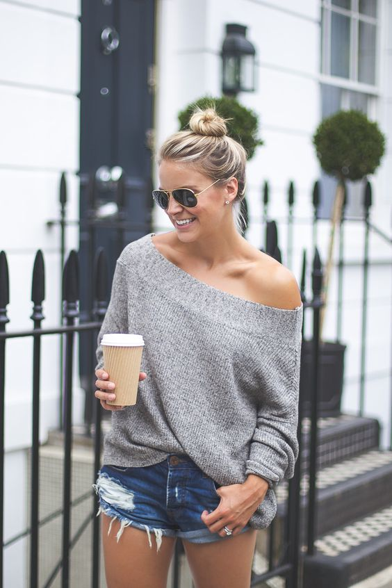 48 HOURS IN LONDON - Styled Snapshots, Grey Off the shoulder sweater, free people