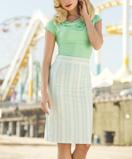 mint top retro striped pencil skirt by shabby apple