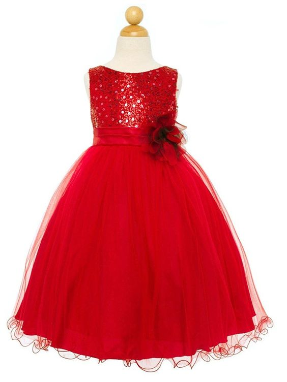Amazon.com: Sparkly Sequin Tulle Flower Girls Christmas Holiday Party Dress Pageant Red 8: Clothing
