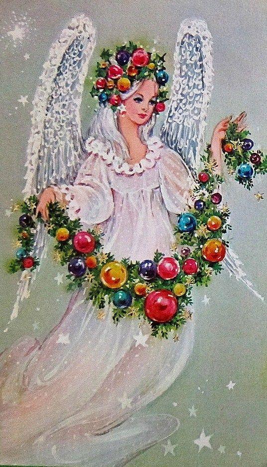 Vintage 1960's Christmas Angel Card: