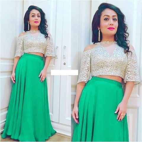 Neha Kakkar In Green And White Skirt Top Designer Skirt Top Braso Rayon Skirt Top Buy Skirt Top Online Neha Kakkar Dresses Skirt Top Indian Skirt And Top