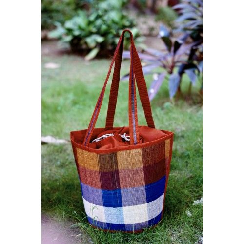 Gleamberry | Brown Mat Handcrafted Bag/Basket-12""