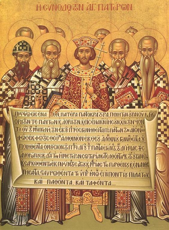 Icon depicting the Roman Emperor Constantine (centre) and the bishops of the First Council of Nicaea (325) holding the Niceno–Constantinopolitan Creed of 381 - this is Caesaropapism - the idea of combining the power of secular government with the religious power, or making it superior to the spiritual authority of the Church...: