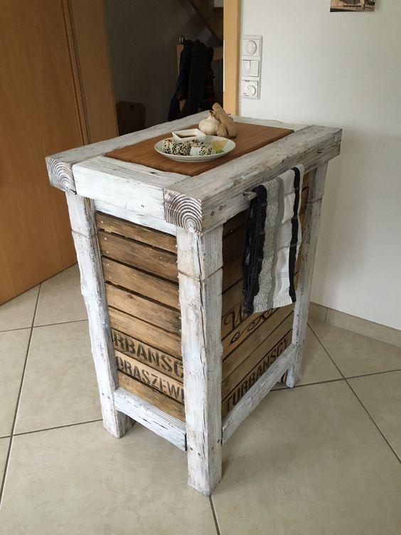 Küchenwagen Milano - Mango MDF Jute Canvas Leder Holz - lackiert - küchenwagen holz massiv