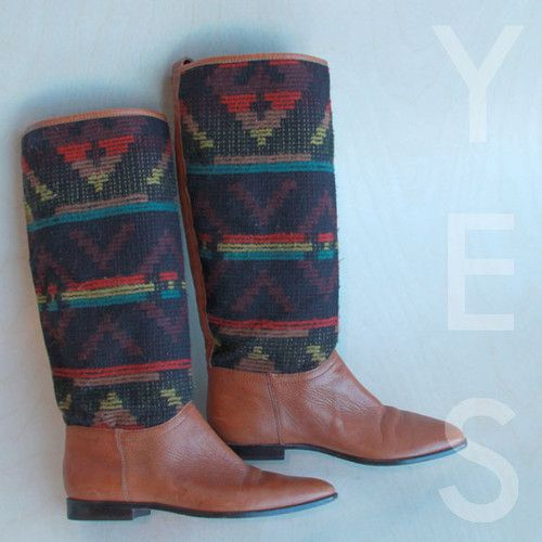 VINTAGE 80s Natural Leather & Wool Woven Pendleton Boots Shoes Brazil
