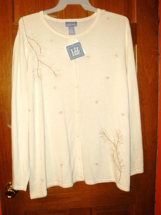 Womens plus size cardigan-28-3X-Liz & Me-Cream & beaded-Winter-Christmas-NWT #LizMe #thincardigansweater #Casual