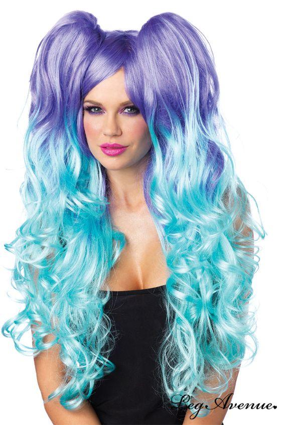perruque longue perruque fluo longue bleu coiffures tenue clubwear finition colore perruques 100 menthe ple filles gothiques - Perruque Colore