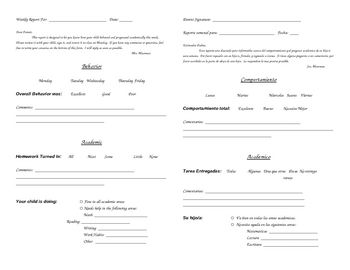 Keeping parents informed is a task we all need to tackle as teachers. This form (in both English and Spanish) will help make that task a bit easier...