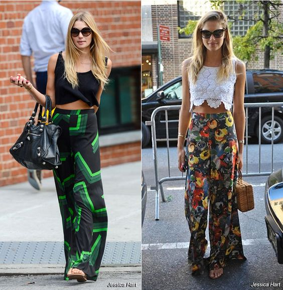 Jessica Hart lookin' cute in printed bottoms paired with a crop top #ssmag