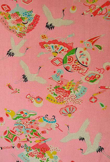 Vintage japanese children s kimono fabric flying cranes for Where can you get fabric
