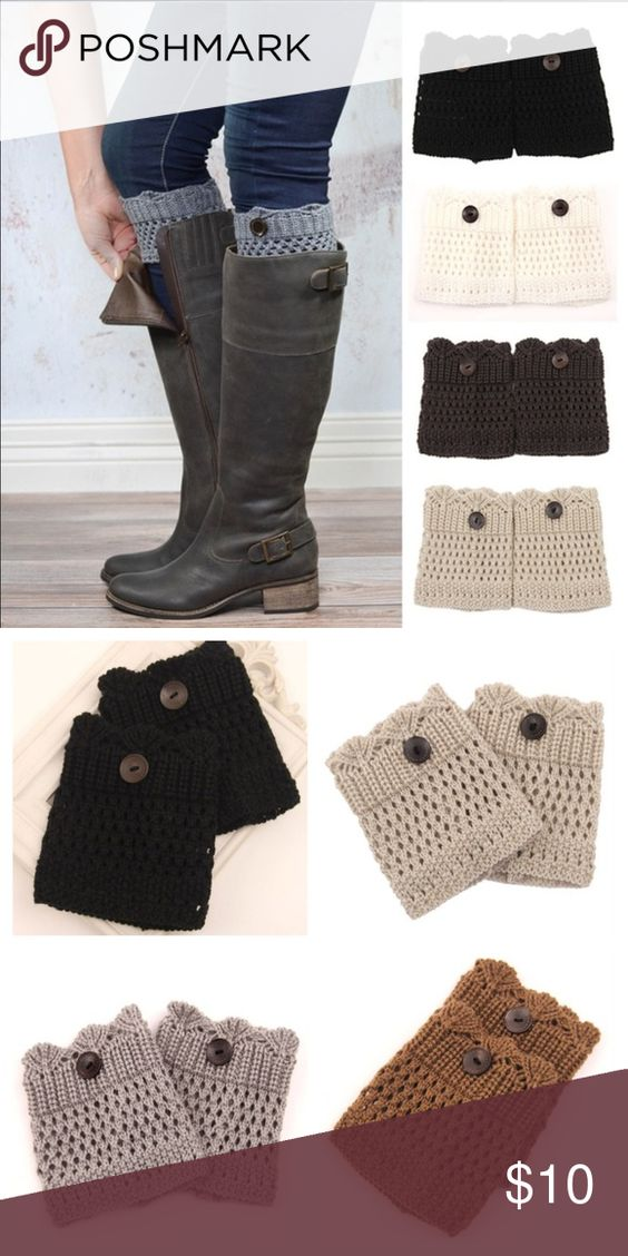 Boot Toppers With Buttons So cute and will complete your ensemble. Colors listed in sizes section just choose color when purchasing. The actual colors now available are in the second picture. Black, beige, light grey, and khaki. Accessories Hosiery & Socks