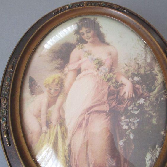 Antique Oval Portrait Frame Barbola ROSE Swags DOMED Glass MAIDEN Garden CHERUB
