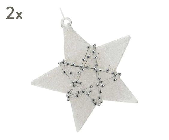 """Komplet 2 dekoracji choinkowych """"Star II"""", 9 x 2 x 9 cm"""