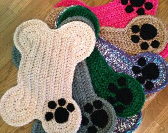 Crochet PATTERN - Dog Bone Placemat Rug; Pet Food Floor ...