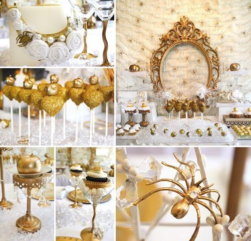 Loving this gold and white Snow White themed party set up Party