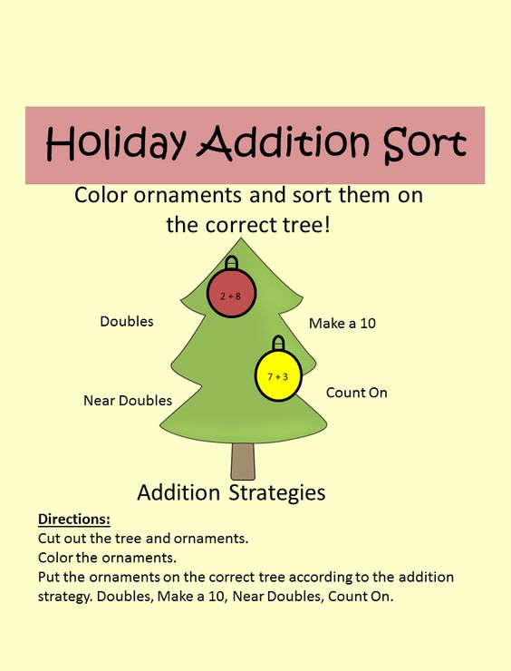 Students color and cut out onraments and place them on the correct tree according to addition strategy. Make a 10, Doubles, Near Doubles, Count On.