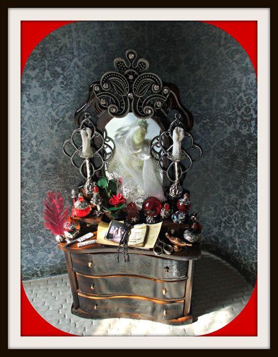 Gothic Witch Wizard Halloween dollhouse miniatures cabinet dresser glow in dark ooak