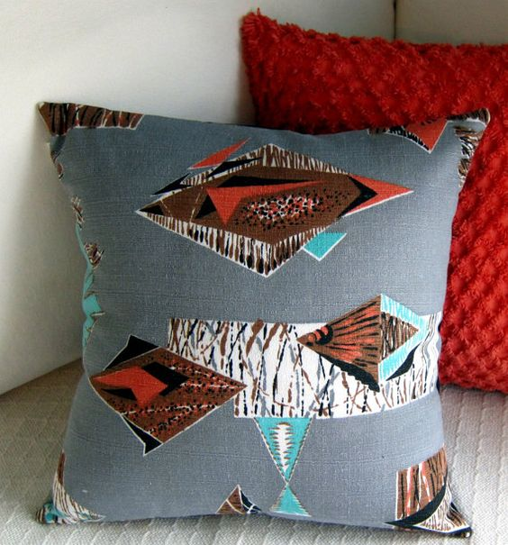 Retro Barkcloth Throw Pillow Cover  Rat Pack by atomiclivinhome, $78.00