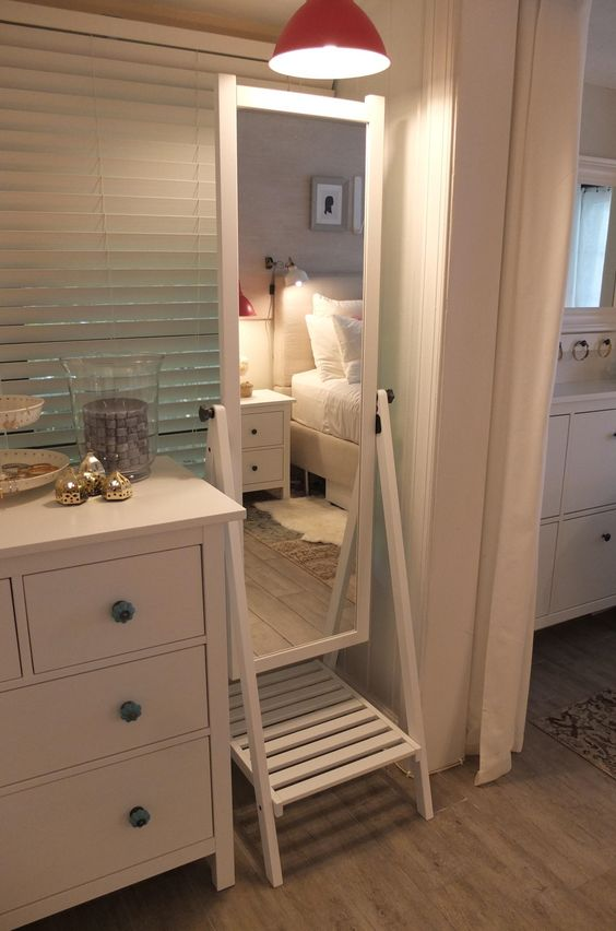 Shoe shelves wall spaces and knobs on pinterest for Full length mirror with shelf