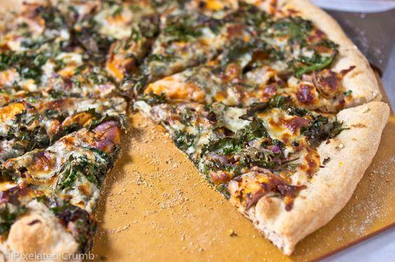 Sweet potato and kale pizza