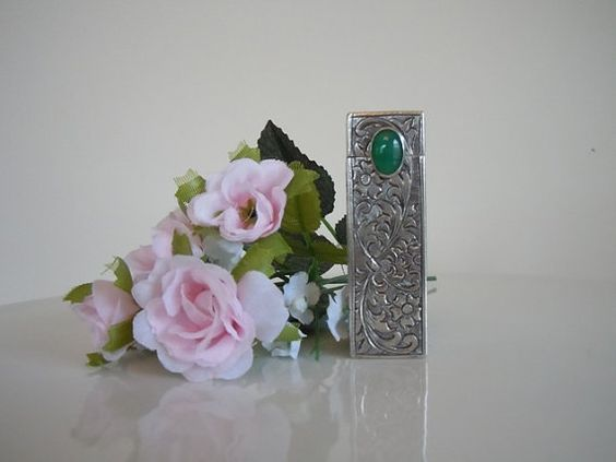 Vintage Silver Lipstick Case Italian Silver Retro by panther85, $90.55