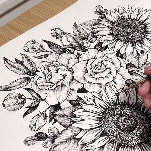 Peony flower tattoo, sunflower tattoo, tattoo drawing