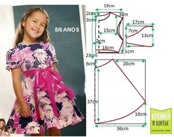 Ideas para el hogar: Molde de vestido de niña para 5 o 6 años: