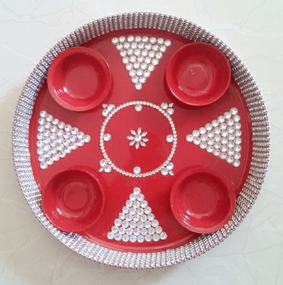 Simple aarti thali decoration thali pinterest simple for Aarti plate decoration