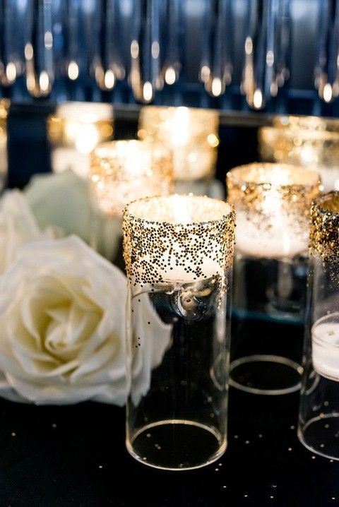 Candlelight On A Budget 55 Elegant Navy And Gold Wedding Ideas  HappyWedd.com, Unique Wedding Ideas,