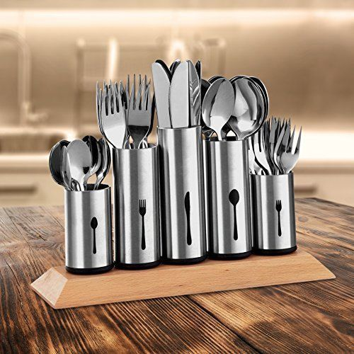 Stainless Steel Flatware Holder Caddy With Wood Base Kitchen