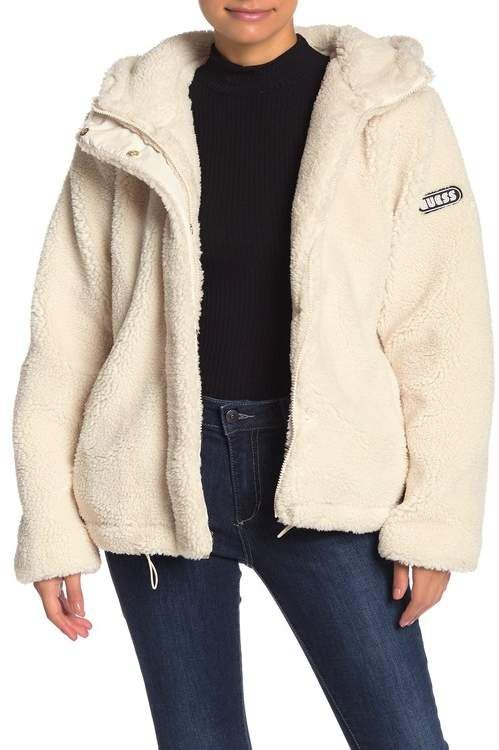 guess hooded teddy faux fur jacket