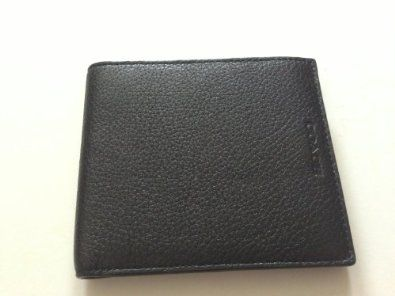 Coach Black Soft Pebbled Leather Double Billfold Bifold Mens Wallet F74323 New with Tag