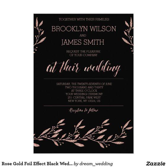 Rose Gold Foil Effect Black Wedding Invitations
