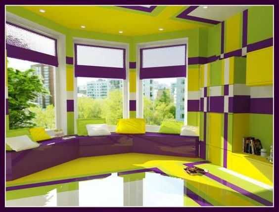 Of Blues Neutrals Or Perhaps Minimalist White Her Psychedelic Bedroom Combines Lime Green Lemon Ye House Paint Design House Colors House Paint Interior Lemon yellow room paint color