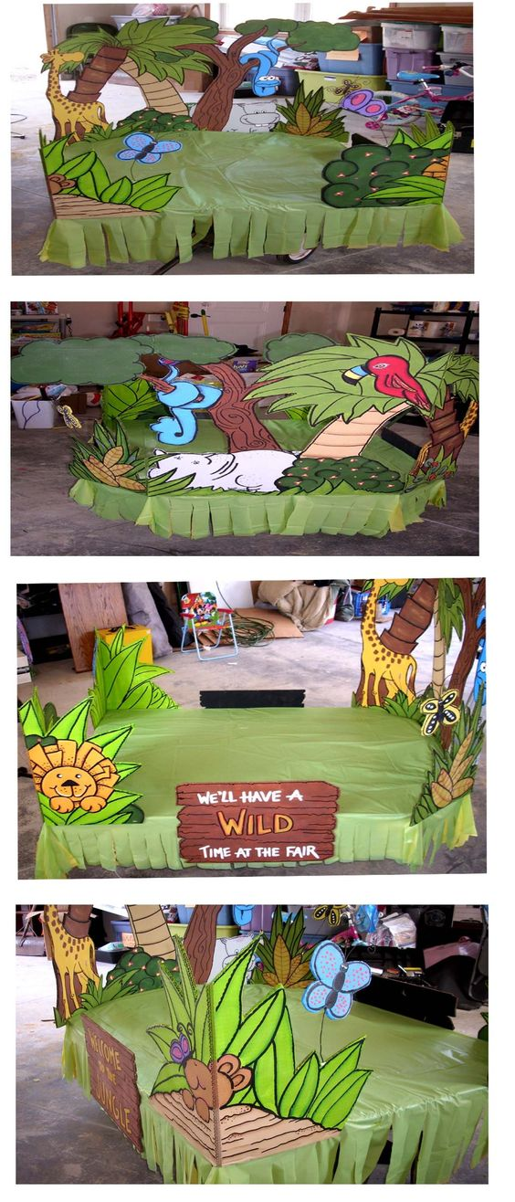 Welcome to the jungle float...the base is a little red wagon  #jungle  #floats