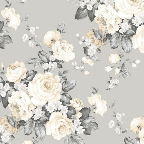 Vintage Bloom Wallpaper By Patton Wallcovering Lelands Wallpaper Grey Floral Wallpaper Floral Wallpaper Wallpaper Roll