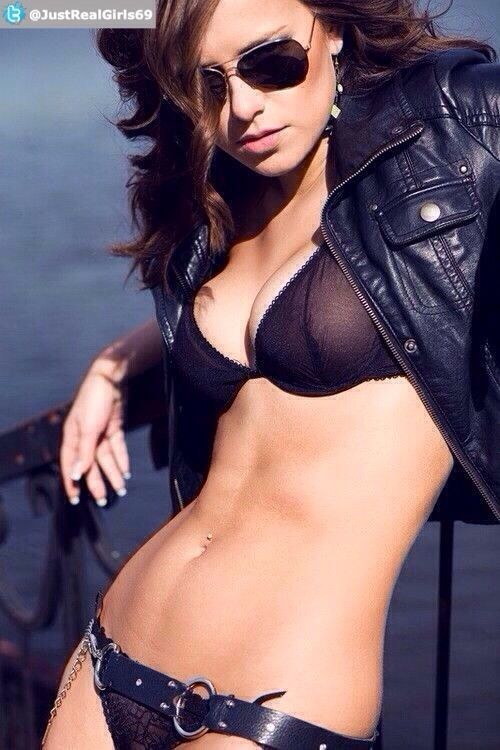 Hot girl in #glasses and #bikini with #leather jacket nice sexy pic