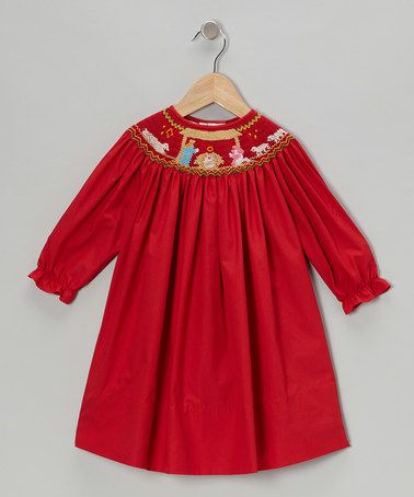 Take a look at this Red Nativity Long-Sleeve Bishop Dress - Infant, Toddler & Girls by Monogrammables by Rosalina on #zulily today!