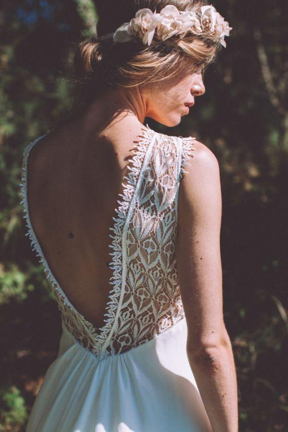 Robe de mariee boheme Lorafolk 2016 modele Dori / Joli dos