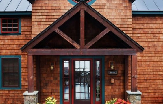 Timber frame porch says mountain lodge ideas for our for Timber frame porch designs